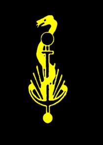 Praxislogo in Form einer gelben Äskulusschlange auf einem Ankerstab