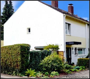 Haus blauer Himmel Hecke Praxiseingang Vorbeet Fussweg Seitenstrasse Fenster Pflanzenbewuchs