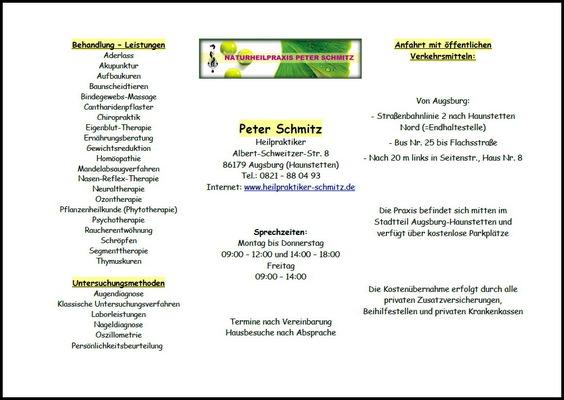 Beschreibung gelb unterstrichene Überschriften Praxislogo DIN-4-Blatt Text
